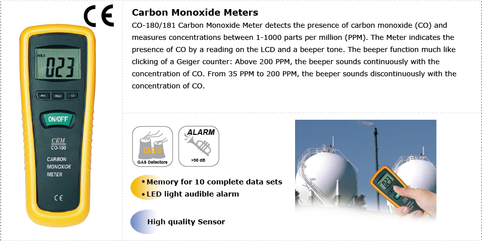 CEM CO-180181 Carbon Monoxide Meters Applications