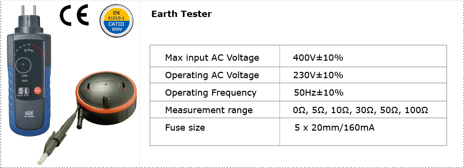CEM DT-9051 Earth Tester Applications
