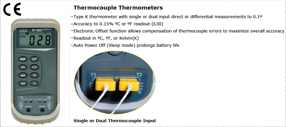 CEM DT-9610B/9612/629/630 Thermocouple Thermometers applications